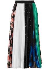 Msgm Woman Paneled Pleated Printed Satin Midi Skirt Multicolor