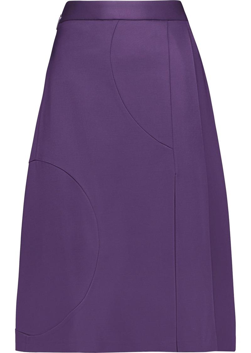 Msgm Woman Pleated Ponte Skirt Purple