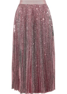 Msgm Woman Pleated Sequined Tulle Midi Skirt Baby Pink