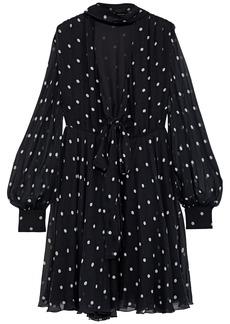 Msgm Woman Polka-dot Silk-chiffon Dress Black