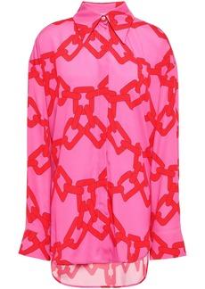 Msgm Woman Printed Crepe De Chine Shirt Fuchsia