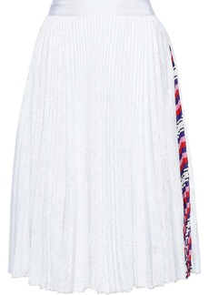 Msgm Woman Printed Crepe-trimmed Sequined Tulle Skirt White