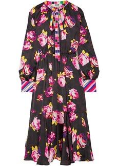 Msgm Woman Pussy-bow Floral-print Satin Midi Dress Black