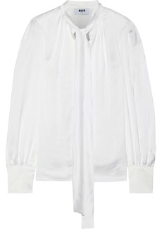 Msgm Woman Pussy-bow Satin-twill Blouse White