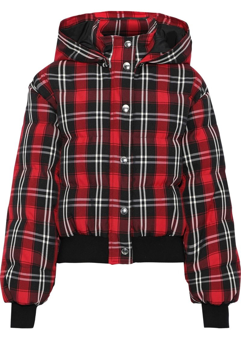 Msgm Woman Quilted Checked Twill Down Hooded Jacket Red