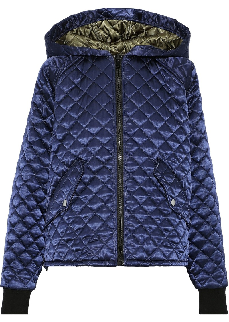 Msgm Woman Quilted Shell Hooded Jacket Indigo