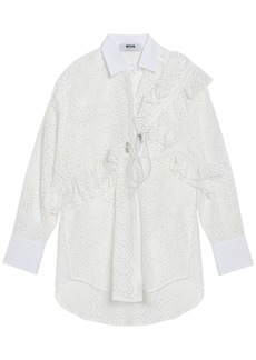 Msgm Woman Ruffle-trimmed Broderie Anglais Cotton-poplin Shirt White