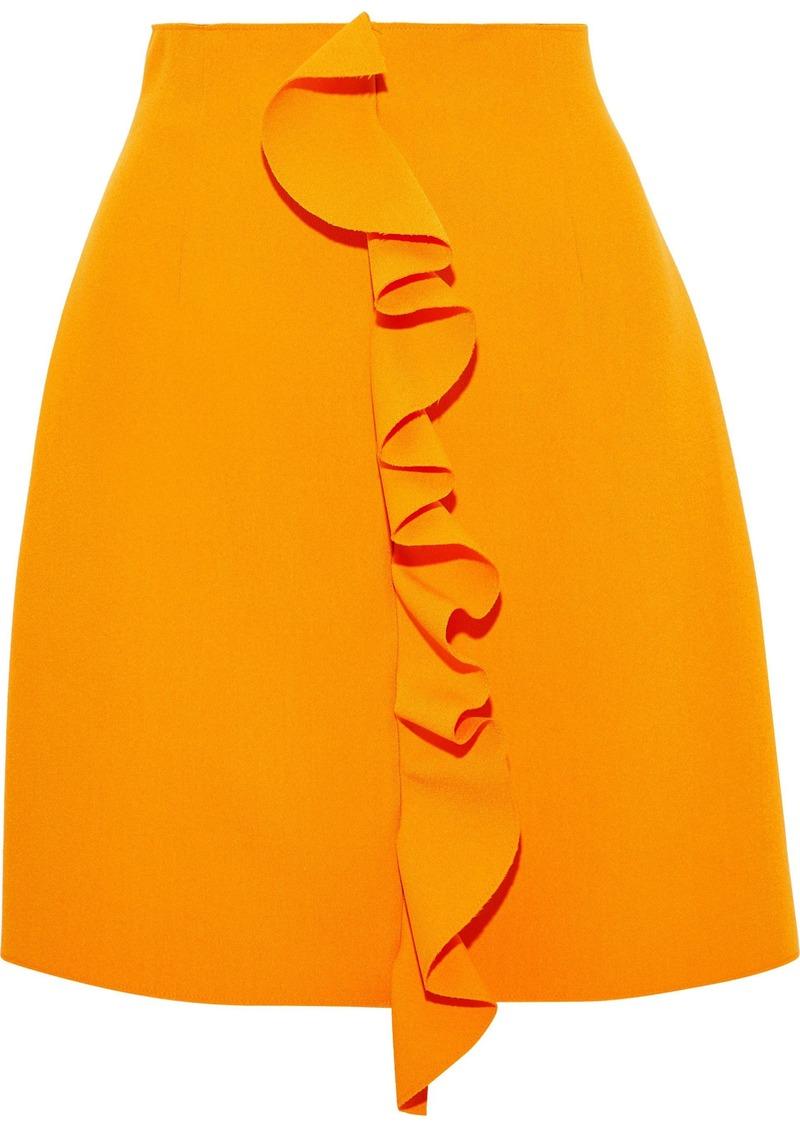 Msgm Woman Ruffle-trimmed Crepe Mini Skirt Orange