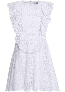 Msgm Woman Ruffled Broderie Anglaise Cotton Mini Dress White