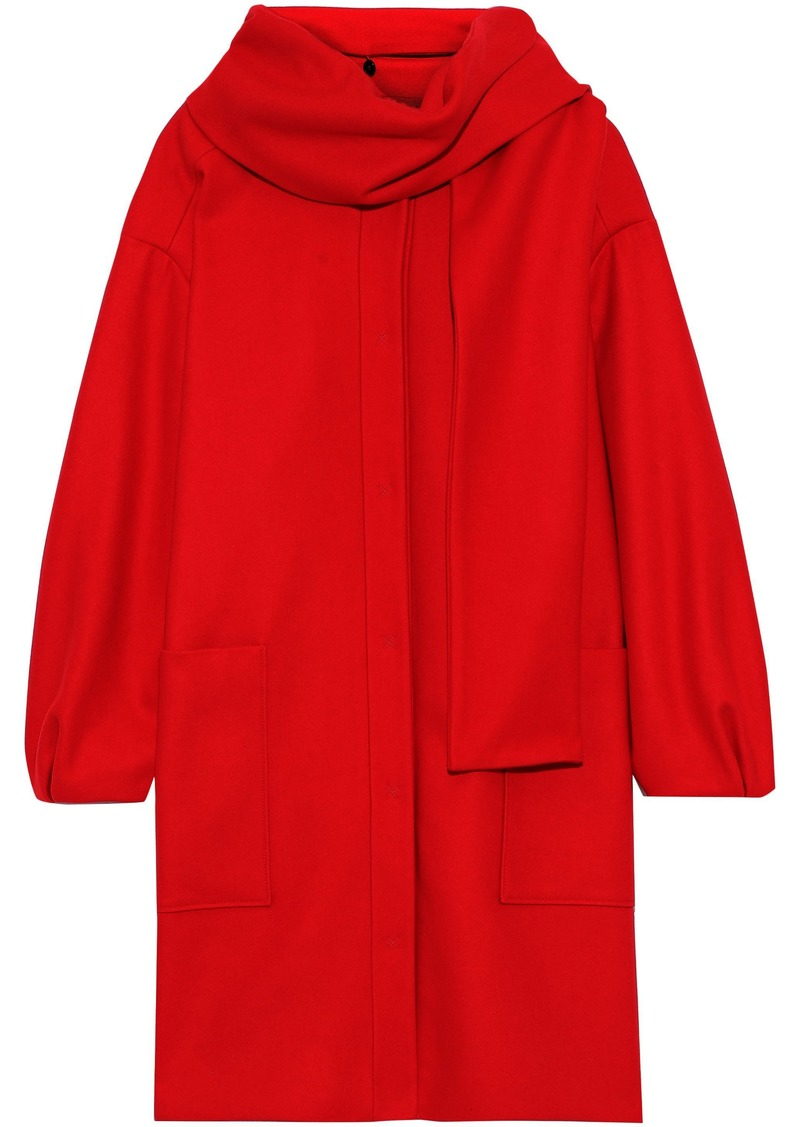Msgm Woman Scarf-detailed Wool-blend Coat Red