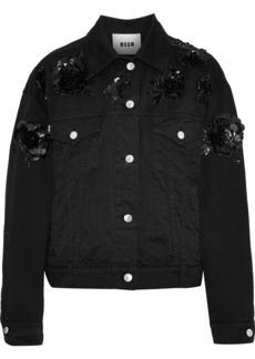 Msgm Woman Sequin-embellished Denim Jacket Black