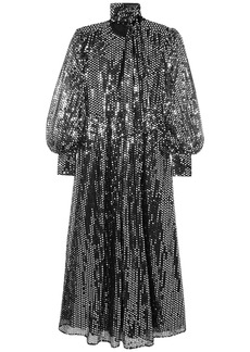 Msgm Woman Sequined Tulle Maxi Dress Black