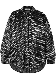 Msgm Woman Sequined Tulle Shirt Black
