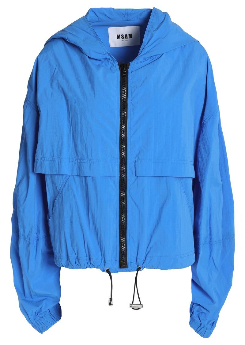 Msgm Woman Shell Hooded Jacket Cobalt Blue