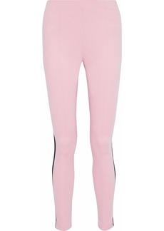 Msgm Woman Striped Stretch-knit Leggings Baby Pink