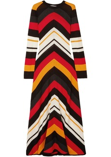 Msgm Woman Striped Wool-blend Maxi Dress Multicolor