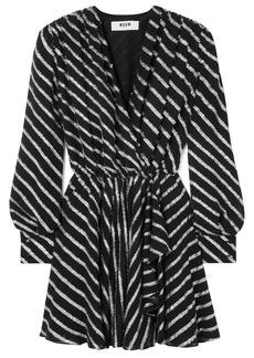 Msgm Woman Wrap-effect Striped Fil Coupé Chiffon Mini Dress Black