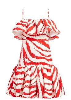 MSGM Zebra-print ruffled matelassé dress