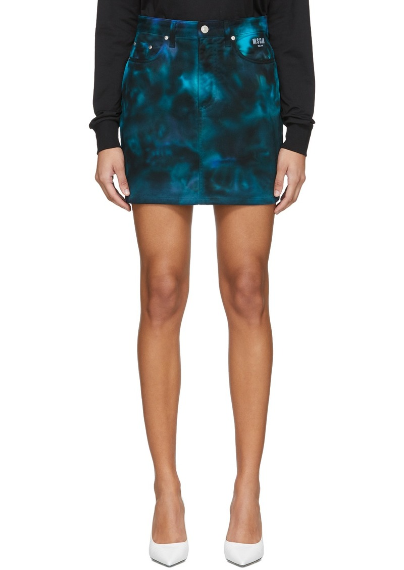 MSGM Navy Denim Tie-Dye Skirt