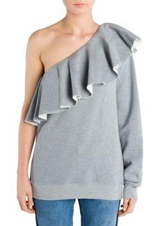 MSGM One-Shoulder Ruffle Sweatshirt