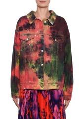 MSGM Oversized Tie-Dye Denim Jacket