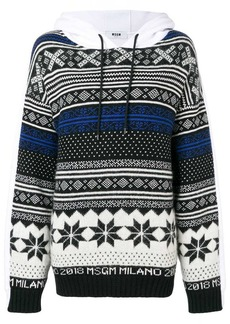 MSGM patterned hooded sweatshirt