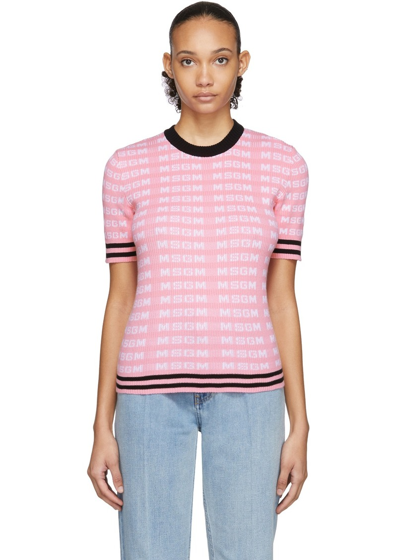 MSGM Pink All Over Logo Short Sleeve Sweater
