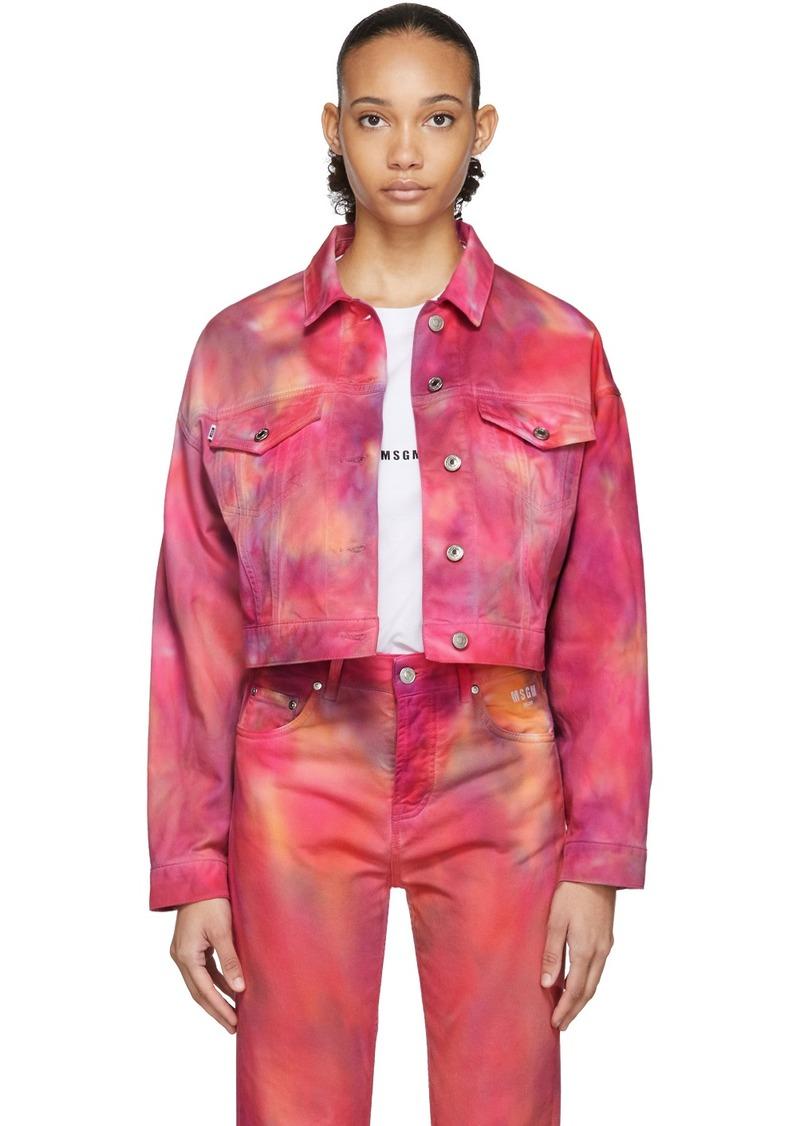 MSGM Pink Denim Tie-Dye Jacket