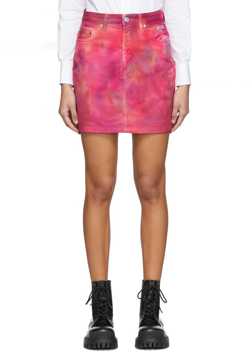 MSGM Pink Denim Tie-Dye Miniskirt