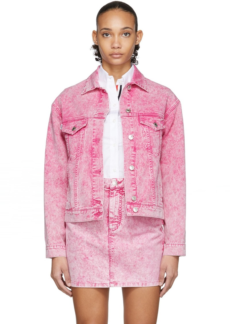 MSGM Pink Washed Denim Jacket
