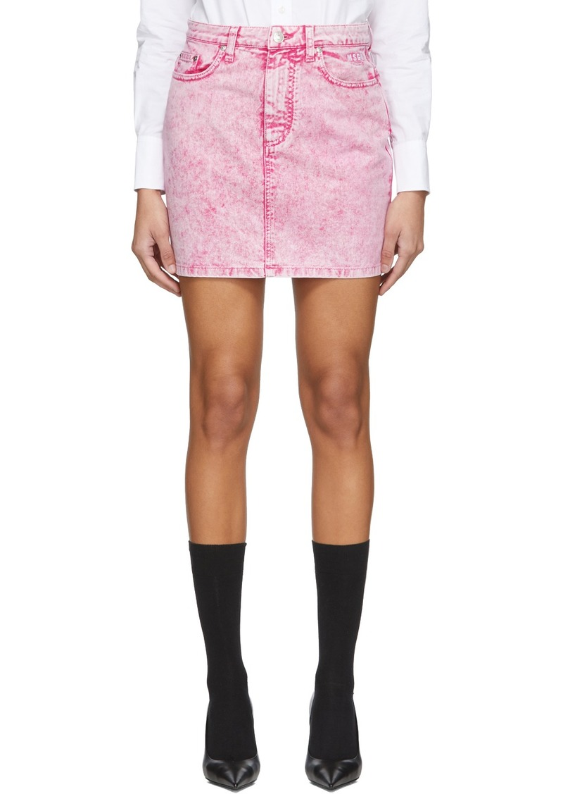 MSGM Pink Washed Denim Miniskirt