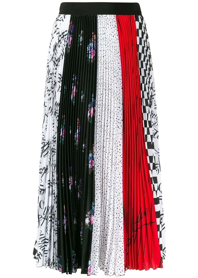MSGM pleated printed skirt