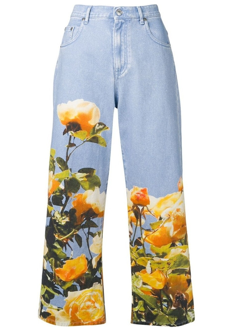 MSGM printed cropped jeans