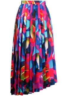 MSGM printed pleated asymmetric skirt