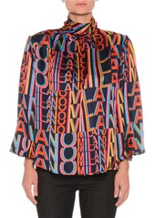 MSGM Printed Satin Boxy High-Neck Blouse with Removable Shoulder Pads
