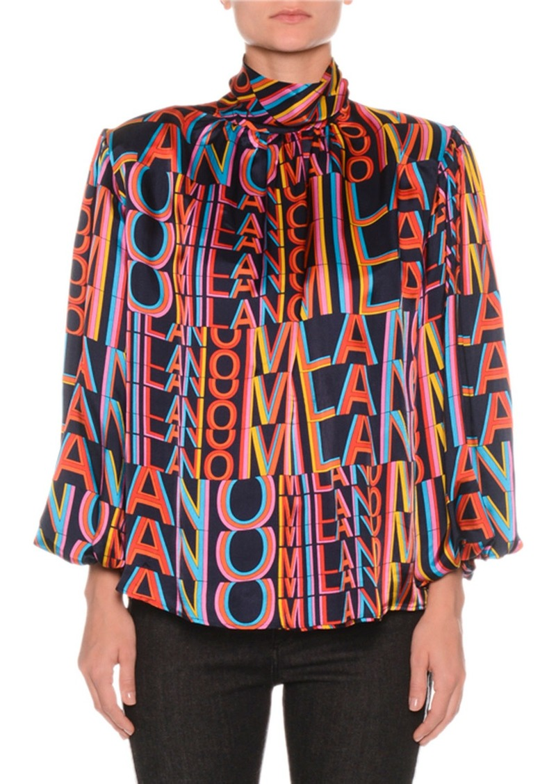 Printed Satin Boxy High-Neck Blouse with Removable Shoulder Pads