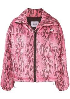 MSGM python print cropped puffer jacket