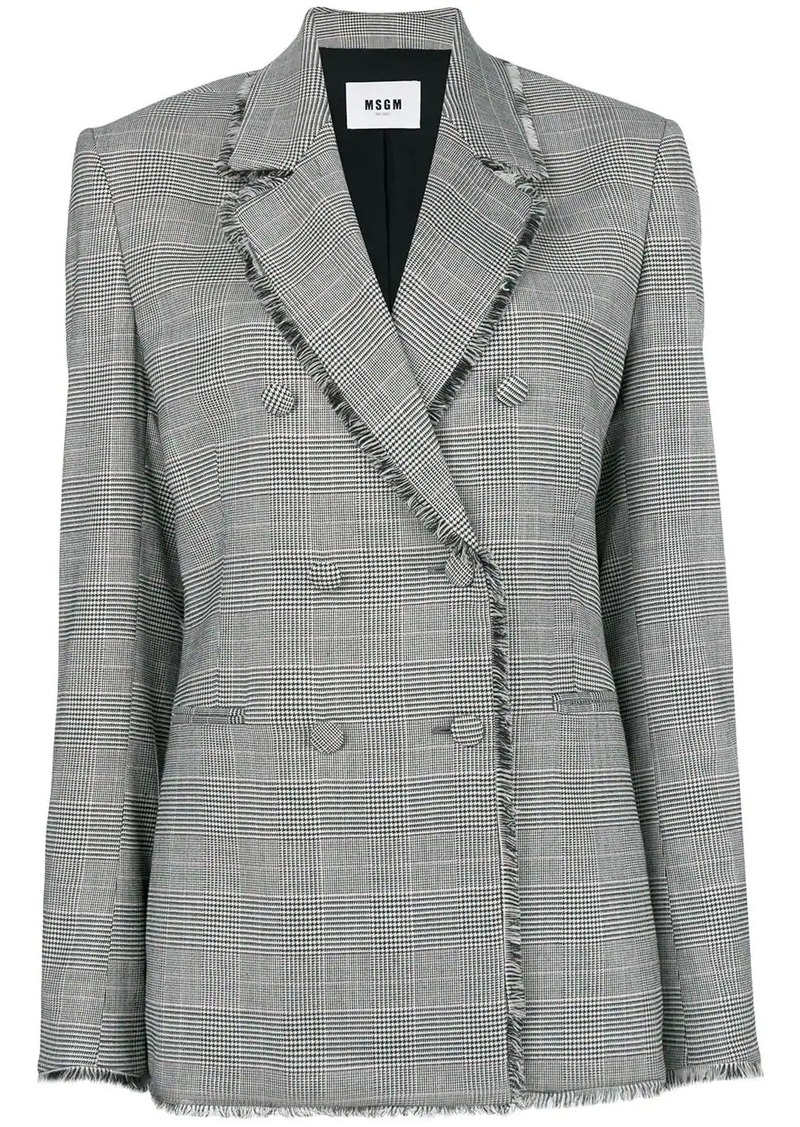 MSGM raw edge notch collar blazer