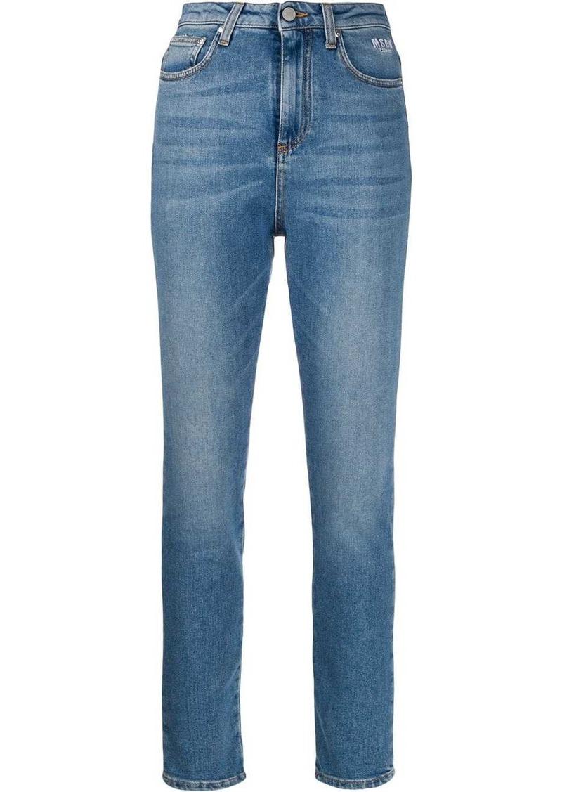MSGM rose logo print skinny jeans