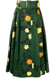 MSGM rose-print belted A-line midi skirt