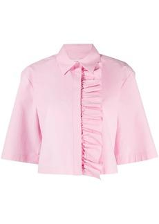 MSGM ruffle detail cropped shirt