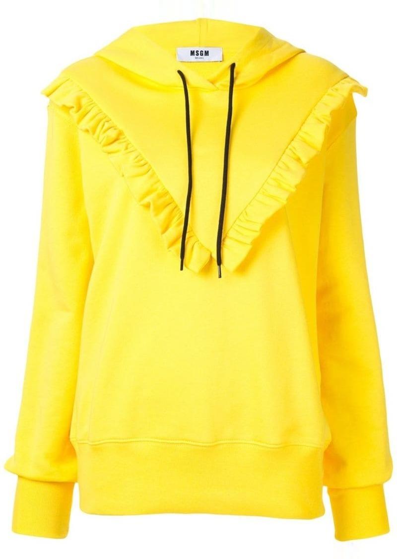 ruffle detail hoodie