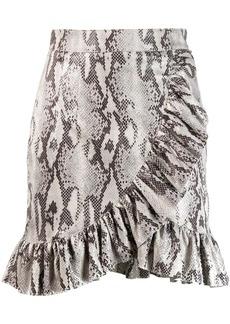 MSGM ruffled snakeskin print skirt