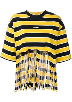 MSGM Shredded striped T-shirt