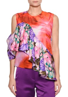 MSGM Sleeveless Mixed-Print Silk Satin Top w/ Ruffled Frill