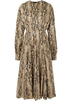 MSGM Snake-effect Faux Leather Midi Dress