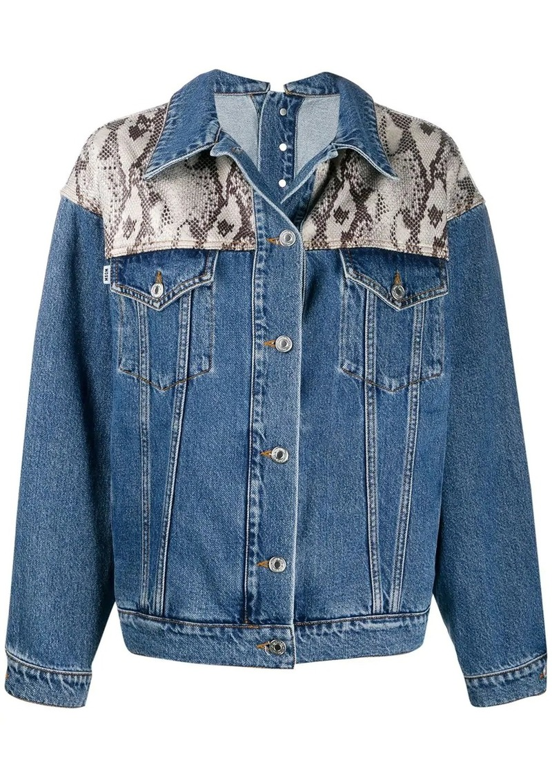 MSGM snake print panel denim jacket