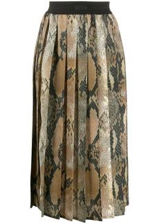 MSGM snakeskin effect pleated skirt
