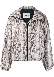 MSGM snakeskin print puffer jacket
