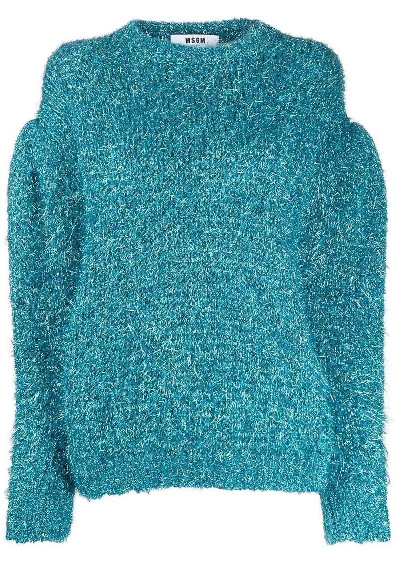 MSGM sparkle knit balloon-sleeve jumper
